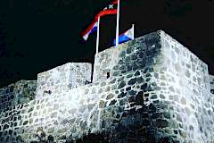 Restoration of Fort Amsterdam on Sint Maarten, the fort at night